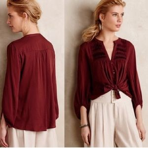 Anthropologie Maeve burgundy tunic blouse top